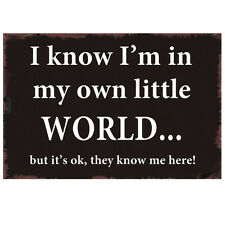 Vintage Rustic IM IN MY OWN WORLD Enamel Retro Metal Wall Plaque Sign Gift