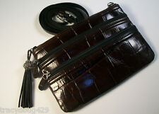 NWT BRIGHTON  Chocolate Croc Embossed Leather CROSS-BODY SHOULDER BAG or Clutch