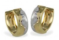 ECHT GOLD *** Kleine Creolen Ohrringe bicolor 13 mm
