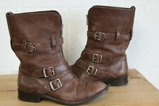 BROWN LEATHER BUCKLE BIKER BOOTS SIZE 4 / 37 BY KURT GEIGER USED CONDITION