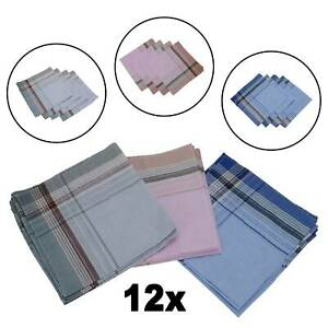12X Mens Handkerchiefs Hankies Hankerchiefs Cloths 100% Pure Cotton Suit Gift