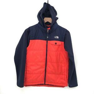 North Face Boy's Jacket Navy & Orange hooded fleece puffer full zip warm L 14 16