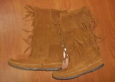 Minnetonka Moccasins 1632 3 Layer Fringe Calf Brown Suede High Boots 7