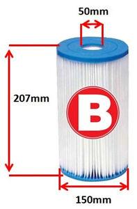 1 Pack Intex Type B Pool Filter Cartridge Fits Pump 28633, 28634, 59905, 56611,