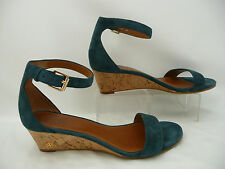 Tory Burch Blue Suede Leather Savannah Ankle Strap Wedge Heels Sz 7 M
