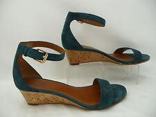 Tory Burch Blue Suede Leather Savannah Ankle Strap Wedge Heels Sz 7 M