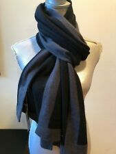 NEW HANNAH ROSE CASHMERE BLACK GRAY STRIPE KNIT SCARF SHAWL WRAP