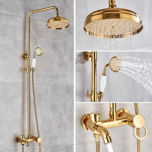 Luxury Gold Rainfall Shower Faucet Set Shower System With Tub Spout Mixer Tap