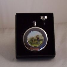 Round Hip Flask 4.5oz Shooting design with funnel in Presentation Box