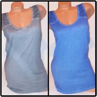 Faded Glory Womens Tank Top Solid Shirt Gray Blue Sleeveless