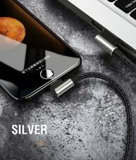for Apple iPhone 7 Plus 6s 8 Lightning USB Charger Cable Charging Data Sync Cord Silver 90° Right Angle 180 Cm/ 1.8m iPad Mini 4