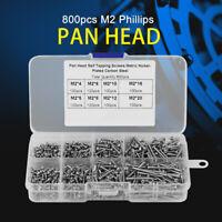 800 pcs M2 Self-tapping Screws Cross Drive Pan/Flat Head Woodworking Fastener US