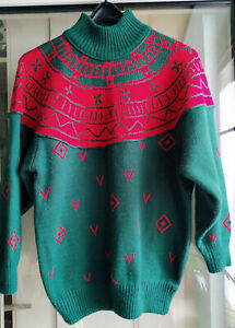 Pullover Damen 38 40 42 Pulli Vintage Norweger 80er 90er rot grün Langarm Turtle