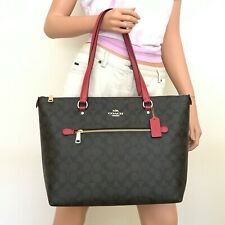 Coach 79609 Gallery Tote in Signature Canvas Color Im/brown 1941 Red