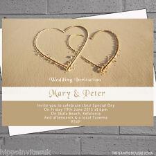TWO Hearts Sand Beach wedding sera giorno Ricezione Inviti X12 + ENV h0398