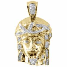 """Genuine Pave Diamond Jesus Piece Charm 10K Yellow Gold 1.18"""" Pendant 0.43 Ct."""