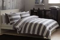 100% Cotton Jacquard Waffle Striped Duvet Set King Bed Size in Grey & White