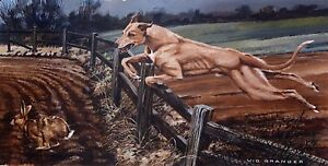 """Limited edition signed print - Lurcher  """"In Full Flight"""" by the late Vic Granger"""
