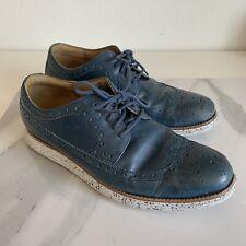 Cole Haan Lunargrand Long Wingtip Oxford In Blazer Blue Leather Size 10.5