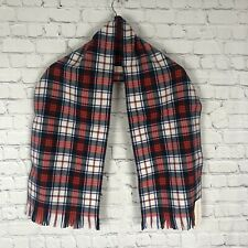 Pendelton 100% Virgin Wool Red Green Plaid Authentic Fringed Scarf NWT *read