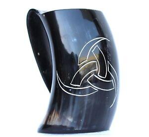 Odin triple horn carved Viking Drinking Horn Beer Mug Tankard Christmas gift