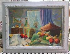 """Peinture / huile sur panneau nature morte """" A table"""" signée"""