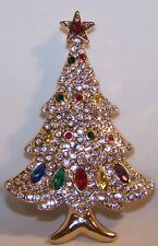 Rhinestone Christmas Tree Pin Brooch-Clear/Multi-Colored Stones-NEW