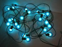 Vintage Strand/String of 23 Frosted Ice Round Sphere Christmas Tree Lights BLUE