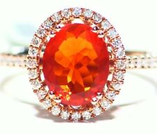 1.75CT 14K Gold Natural Fire Opal White Diamond Vintage Halo Engagement Ring