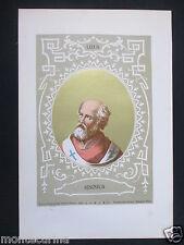 1879 PAPA SISINNIO SISINIUS ANTICA STAMPA CROMOLITOGRAFIA SANTO PAPI POPE D248 m
