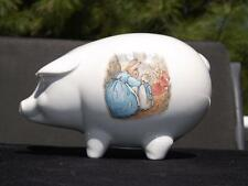 Beatrix Potter Peter Rabbit Wedgwood Pig Piggy Bank w Stopper EXC