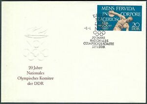 GERMANY DDR FDC - DISCOBOLUS - OLYMPIC COMMITTEE 20th ANNIVERSARY - CACHETED!