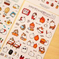 Cute Molang Rabbit Adventure Stickers 6 Sheets Set, Kawaii Sticker Set Scrapbook