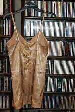 Victoria's Secret Gold woven Corset lace back Nightie gown NEW Old stock S bin75