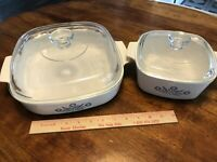 Lot CORNFLOWER White A-10-B  & A 1 1/2 B CORNING WARE CASSEROLES W Pyrex Lids