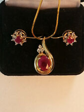 14K Yellow Gold, Ruby & Diamonds Necklace & Earrings Set