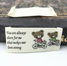 50pcs Bear Printing cloth Tag Washable Clothing Woven Labels Sewing Accessorie