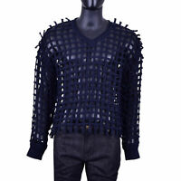 DOLCE & GABBANA RUNWAY Cable Net Braid Pullover Sweater Sweatshirt Blue 07325