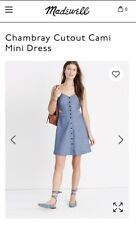 MADEWELL Chambray Cutout Cami Mini Dress in Bengali Indigo Blue Sz 00