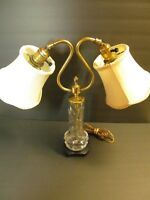 Antique Brass Double Light Cut Crystal Lamp Dual Adjustable Shades Art Nouveau