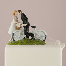 A Kiss Above Bicycle Bride and Groom Wedding Cake Topper Custom