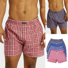 3 6 Pack Mens Premium Woven Boxer Underwear Plaid Shorts Trunk Cotton Poly Lot