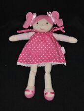 Peluche doudou poupée beige & rose COROLLE robe rose à pois 29 cm TTBE