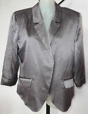 Reduced - PICNIC Size S Silver Grey 100% Silk Fully Lined 3/4 Sleeved Jacket