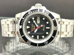 Seiko 5 Stainless steel Sports Automatic Black Dial Japan made Men's Watch
