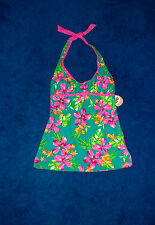 AQUA FLORAL PINK POLKA DOT TANKINI SWIMSUIT SWIM SUIT TOP SIZE 1 - 3 SMALL NWT