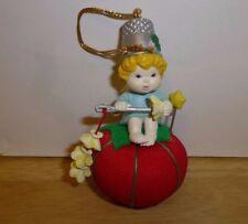 Lustre Fame Christmas Ornament Angel Stringing Popcorn Thimble Hat Pin Cushion