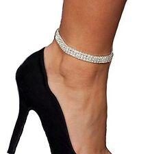 Fußkettchen Fusskette Strasssteine Farbe Silber Kette Schmuck Geschenk Perle