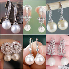 For Women White Pearl Fashion 925 Silver Drop Earrings Engagement Jewelry A Pair