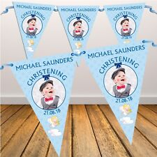 Personalised Boys Blue Christening Baptism Flag Banner Bunting N3 - 10 Flags